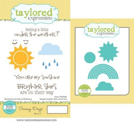 TEPS080 ~ SUNNY DAYS- SET OF 6 Stamps with coordinating dies by Taylored Expressions